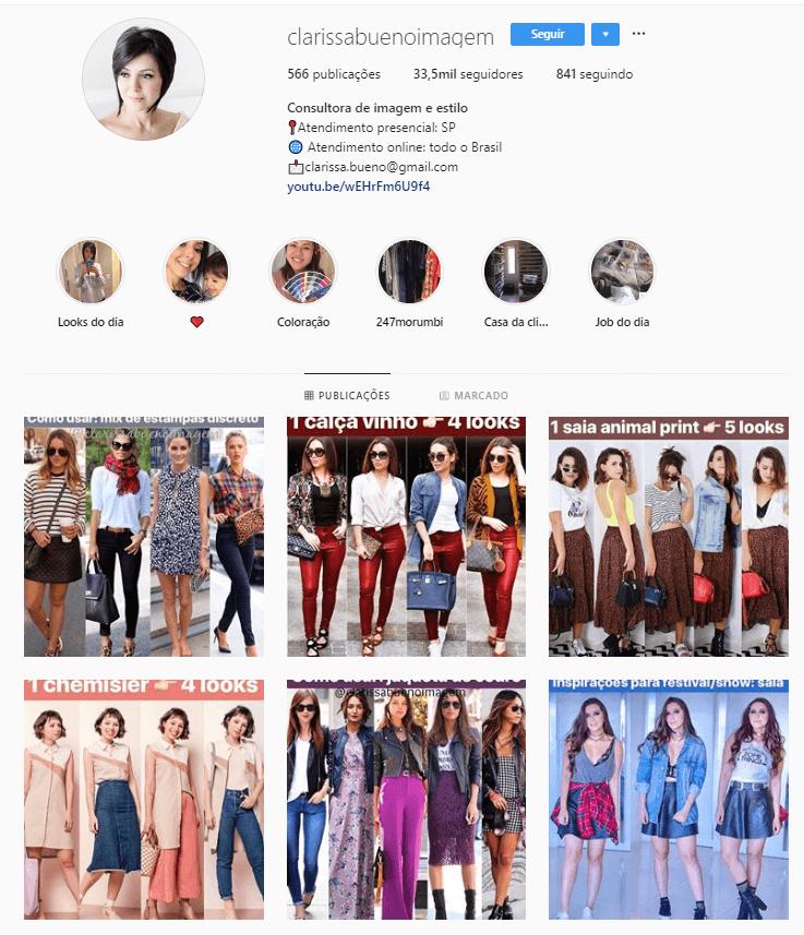 @clarissabuenoimagem - Confira 6 perfis no Instagram com dicas e inspirações para criar look incríveis.